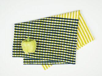 手ぬぐい【 縞々格子 】芥子×紺鉄の画像