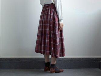 cottonrayon/tuckgather skirt/wineの画像