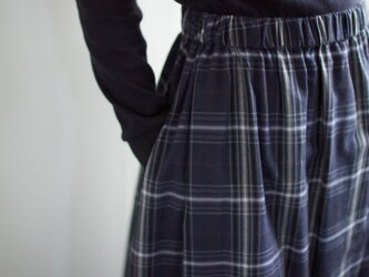 cottonrayon/tuckgather skirt/wine/blueの画像