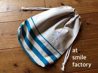 うさぎ 体操服袋ブルー×ベージュ(送料無料)の画像