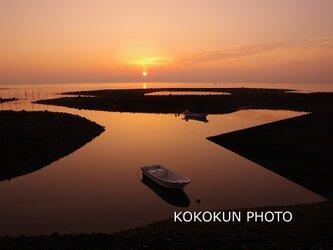 有明海の朝の風景「静かな朝の海」(A4サイズ)の画像