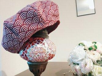 【帆布シリーズ】 <青海波 想いを伝えるベレー帽>  ユニセックス  還暦祝い 着物女子  赤の画像