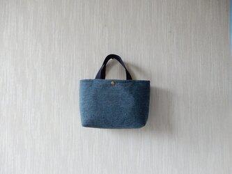 裂き織りのバッグS  藍色の画像