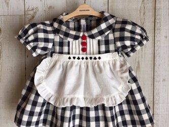 ダッフィーサイズのお洋服 白黒ギンガムエプロンワンピースの画像