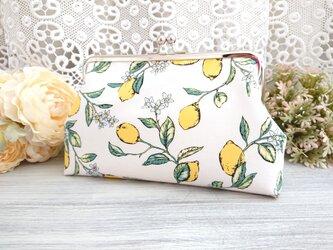 ◆【再販4】レモンの大人女子清楚ながま口ポーチ白*フルーツイエロー旅行やプレゼントに◆の画像