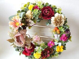 秋の彩り~Flowerリース*Mサイズ(25㎝)敬老の日・プレゼントの画像