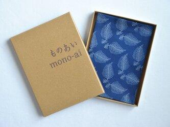 藍染×型染ハンカチ(羽根)の画像