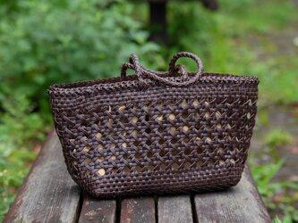 【受注製作】手編み牛革ショルダトートバッグしっかりとした編み込み FB3048インナーバッグ付きの画像