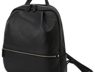 【日本製】イタリアンレザー 本革リュック A4対応 軽量 バックパック ソフトシュリンク ブラックの画像