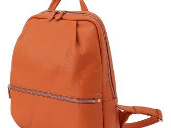 【日本製】イタリアンレザー 本革リュック A4対応 軽量 バックパック ソフトシュリンク オレンジの画像