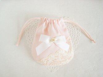 レースとリボンを付けた可愛いミニ巾着袋(ピンク)の画像