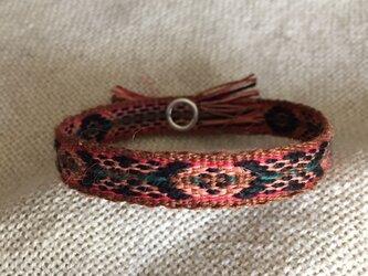 手織りのブレスレット オレンジ×黒 (C)の画像