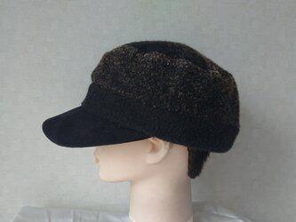 魅せる帽子☆ネップツイードのバイカラーワークキャップ ~ダークブラウン&ブラックの画像