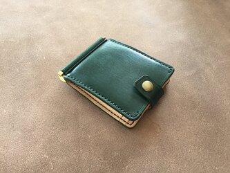 巾85mmフラットになるマネークリップ カード4枚+マルチポケット 札ばさみ MC-10dgk ヌメ革 ディープグリーン&生成りの画像