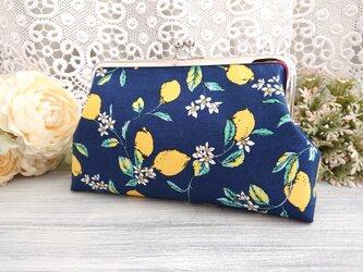 ◆【再販3】レモンの大人女子清楚ながま口ポーチネイビー*フルーツイエロー旅行やプレゼントに◆の画像