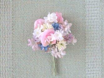 甘いピンク スイトピーの花束 M * シルクデシン製 * コサージュの画像