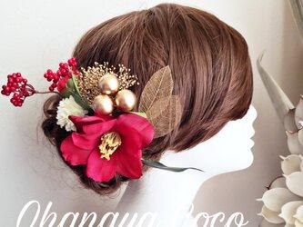 花雅 椿カメリアとゴールドかすみ草の髪飾り9点Set No601の画像