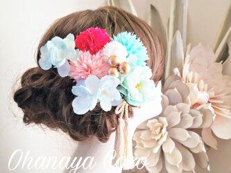 爽花 ピオニーと紫陽花の髪飾り9点Set No602   ヘッドドレスの画像