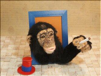 羊毛フェルト 猿 チンパンジーのフレーム の画像