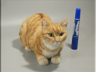 羊毛フェルト 猫 茶トラ猫 チャトラ ねこ ネコ 猫フィギュアの画像