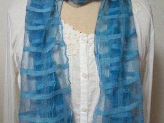 草木染め シルク格子ストール(マリンブルー)の画像