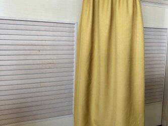送料込・ウール・ミモレ丈・マスタードイエローのギャザースカート・ウエストゴムの画像