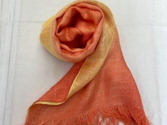 国産シルク100%手描き染めストール orange&yellowの画像