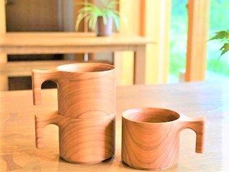【 追加しました、再販10回以上 ◎ 大人気 】たっぷり入る 木製マグカップ wooden mag 山桜0049の画像