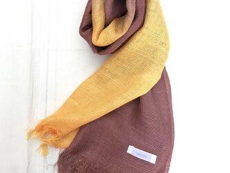 国産シルク100%手描き染めストール yellow&purpleの画像