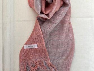 国産シルク100%手描き染めストール pink&glayの画像
