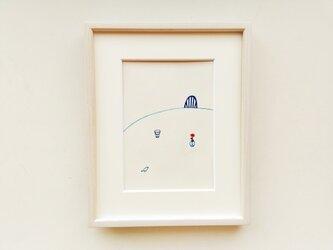 原画「やさしい時間」 水彩イラスト ※木製額縁入りの画像