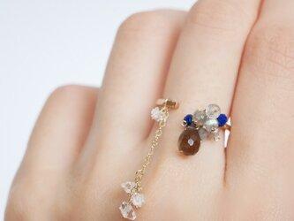 14kgf スイングする天然石のリング、スモーキークォーツ、ラピスラズリ、ラブラドライト、ハーキマーダイヤモンドの画像
