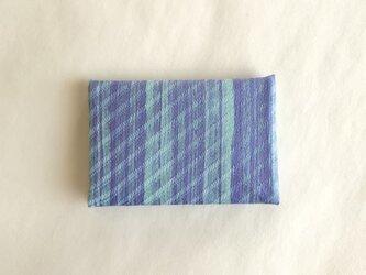 絹手染カード入れ(縦・渋青紫薄緑)の画像