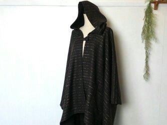 ブラウン ボーダー ウール ポンチョ ~ コート ジャケット ケープの画像