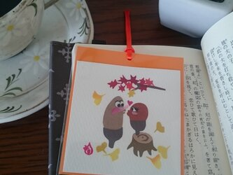 しおり(どんぐり キス)【はり絵 原画】の画像