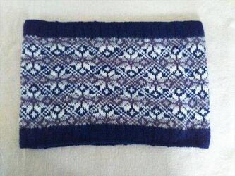手紡ぎ毛糸のネックウォーマー【ネイビー】の画像