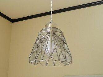 透明(草木透かしの模様)ステンドグラスペンダントライト吊り下げ照明・ガラス Lサイズ・36の画像