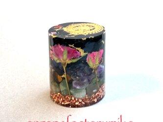 ☆総合運 シュリヤントラ 4種の金属と天然石 押し花 幸運メモリーオイル入りオルゴナイトの画像