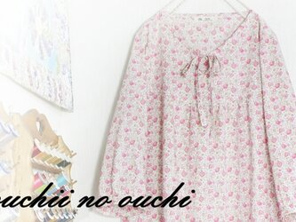 LIBERTY リバティ ワンピース リボン♡ヨーク切り替えギャザーワンピース♪の画像