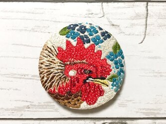 手刺繍日本画ブローチ*伊藤若冲「紫陽花双鶏図」よりの画像