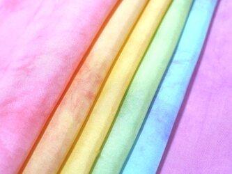 (M)正絹 胴裏 手染め6枚 はぎれセット ムラ染め むら染め つまみ細工用布・吊るし飾りにの画像