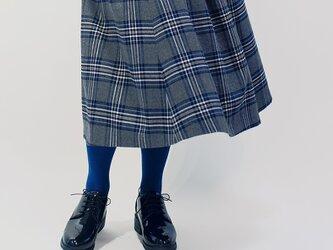 年間OK!グレー×黒×青 タータンチェック ポリレーヨン ロングスカート ●ROLLA●の画像