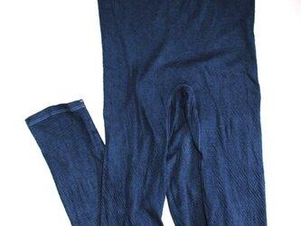 ◆100%自然素材 天然灰汁発酵建て 本藍染◆ 高素材100%コットンボトムス(10分丈)の画像