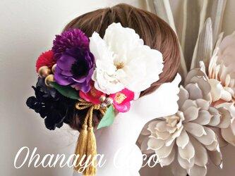 艶姫 ピオニーと椿の髪飾り11点Set No604の画像