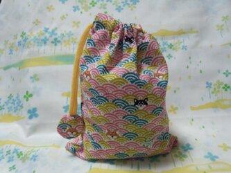 【手縫い】巾着袋☆青海波柄いぬ・桃色☆結目カバー付き☆20㎝×15㎝☆給食袋☆コップ袋☆おむすび袋の画像