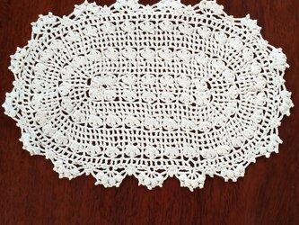 手編みレースドイリー楕円形22×15㎝の画像