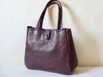 y様オーダー品 イタリア革のマチ有り大きめトート(プルーニャ)紫の画像