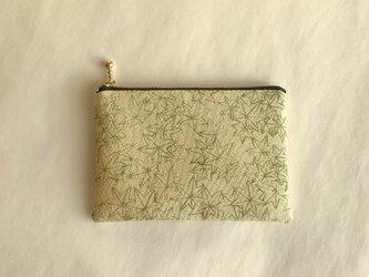 絹ポーチ(10cm×14.4cm 石版・楓/鹿)の画像