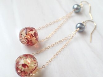 K14GF water pearl & amber pierceの画像