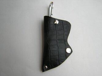クロコダイル型押しキーケースブラックの画像